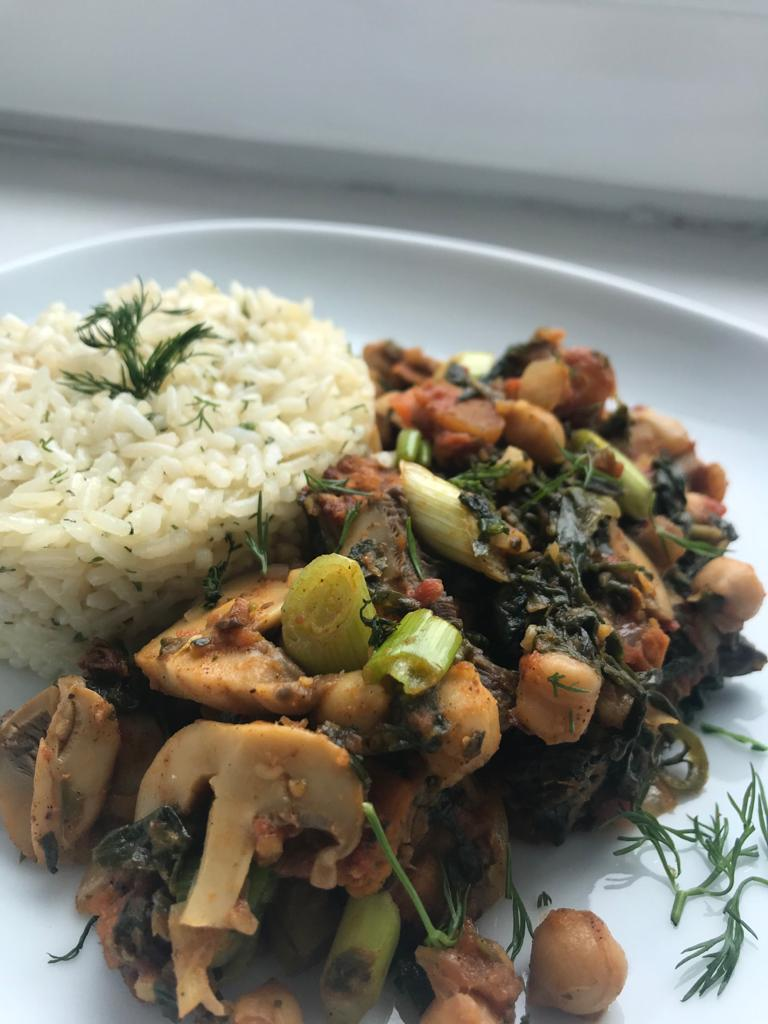 Vegan Mushroom Chickpea Stew with Rice
